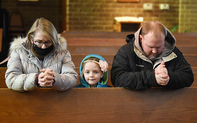 (From left) Joyce Davanzati of Sarver attended The Procession for Life at St. Joseph with her granddaughter, Riley, 7, and son, Steve Davanzati of Cabot, Friday, January 29, 2021. The procession began at St. Joseph in Cabot and continued to St. Mary, Herman; St. John, Coylesville; Mater Dolorosa, Chicora; St. Joseph, North Oakland, and St. Wendelin in Carbon Center. Harold Aughton/Butler Eagle.