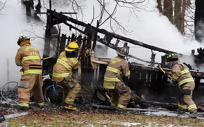 A Friday afternoon fire destroyed a shed behind a mobile home in Center Township. Volunteer fire fighters found the shed fully involved and the rear porch of the mobile home beginning to catch fire when they arrived, said Unionville Volunteer Fire Company Chief Nathan Wulff. The fire was reported at 1:40 p.m. Harold Aughton/Butler Eagle.