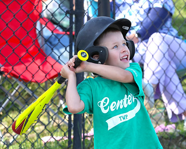 Liam Johnson, 4, takes a swing in a 4-6 Center Township baseball game this week. Seb Foltz/Butler Eagle 06/23/21