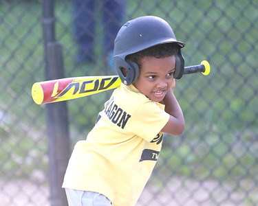 Finnley Spears, 4, swings so hard he turned into a lefty in a 4-6 Center Township baseball game this week. Seb Foltz/Butler Eagle 06/23/21