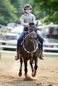 Laine Palmer, 15, of Slippery Rock and her horse Toro, participate in the Cutback competition at the Butler Fair Monday morning. Harold Aughton/Butler Eagle.