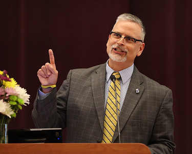 Butler County Community College president Nick Neupauer shares memories of longtime donor Bob Heaton during Wednesday's celebration of life. Heaton died in January. Family friends and college staff shared memories during the commemoration. Seb Foltz/Butler Eagle