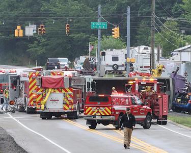 Route 8 overturned tractor-trailer truck crash. Seb Foltz/Butler Eagle 07/08/21