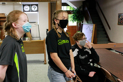 Autumn Wilson, 16, Kate Wollerton, 16, and Evan Szafranski, 14, all worked on the branding for the soda. Photo: Julia Maruca