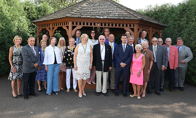 Rotary Club of Butler PM members pose for a photo at their 100-year anniversary celebration Friday. Seb Foltz/Butler Eagle 07/09/21
