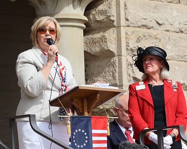 Butler County commissioner Leslie Osche speaks at Saturday's Daughter's of the American Revolution marker unveiling at the Butler County Courthouse Saturday, General Rich Butler Chapter regent Martha Eberhardt also pictured. Seb Foltz/Butler Eagle 07/10/21