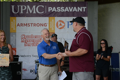 PRPS CEO Tim Herd congratulated Cranberry Township Parks and Recreation Director Pete Geis and presented him with an award for excellence for the township's maintenance manual. Photo: Julia Maruca