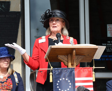 General Richard Butler Chapter of the Daughters of the American Revolution regent Martha Eberhardt speaks at Saturday's Revolutionary War marker dedication ceremony at the Butler County Court House. Seb Foltz/Butler Eagle 07/10/21
