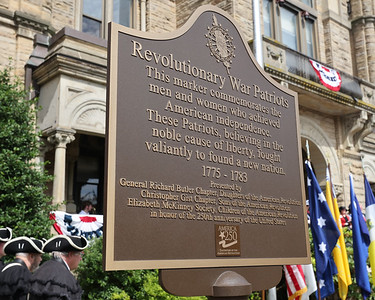 New patriots marker commemorating the American Revolution, unveiled Saturday during a Daughters of the American Revolution ceremony at the Butler County Courthouse. Seb Foltz/Butler Eagle. 07/10/21
