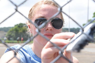 Kivrin Haines was one of about a dozen youth from Midland, Michigan volunteering their time with Fishbone Ministries this week to work on a number of community projects. Harold Aughton/Butler Eagle.