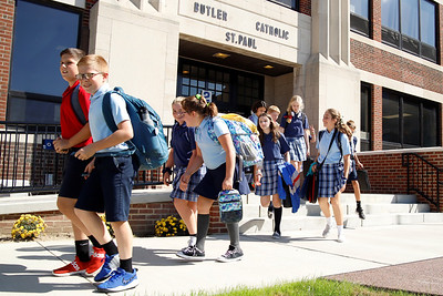 Students file out of Butler Catholic School at the end of the school day. Seb Foltz/Butler Eagle