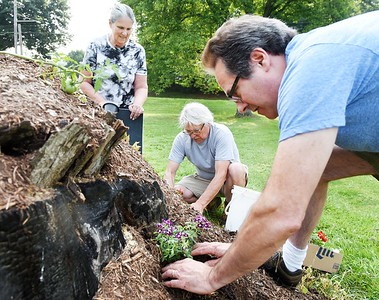 Board members of the Harmony Museum, from left, Gwen Lutz, Rodney Gasch and Chuck Welsh plant flowers in the Hugelkulture at the Harmonist Barn Tuesday morning. Harold Aughton/Butler Eagle