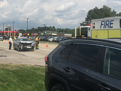 Officers responded to a two-vehicle accident near Diehl Mitsubishi on Route 8 at around 1:25 p.m. Wednesday, where a driver was transported to a hospital for his injuries. CHERI GALLAGHER/BUTLER EAGLE