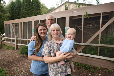 Wildbird Recovery founders David and Beth McMaster(back and center), daughter  Melissa  and grand daughter Emma McMaster-Brown. Seb Foltz/Butler Eagle. 07/28/21