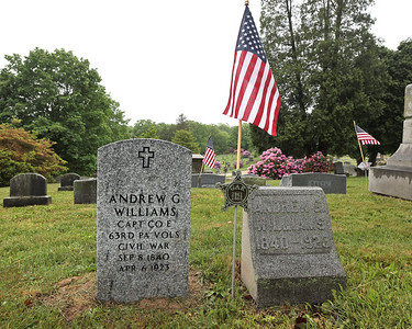 Members of the Butler VFW, American Legion and 63rd PA Volunteer Infantry Civil War re-enactors held a ceremony Saturday unveiling the new head stone(pictured) for Civil War veteran and Butler resident Lt. Andrew Williams. Seb Foltz/Butler Eagle 05/29/21