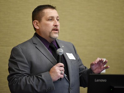 Harold Aughton/Butler Eagle: Commissioner Kevin Boozel addresses business and community leaders during the Butler County Growth Collaborative event held by the Butler County Chamber of Commerce at the Regional Learning Alliance Tuesday, February 18, 2020.