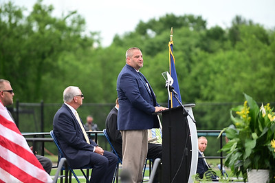 Freeport High School Principal Michael Kleckner gives a speach at graduation ceremony held at Freeport High School Staduim on Tuesday June 8, 2021 (photo by: Jason Swanson)