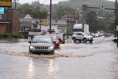 New Castle Street flooding Wednesday. Seb Foltz/Butler Eagle 06/09/211