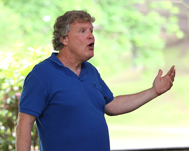 Local historian Bill May presents the history of Alemeda Park Wednesday in the park's Carousel Shelter, part of Butler Parks and Recreation's Free Outdoor Discovery series. Seb Foltz/Butler Eagle. Seb Foltz/Butler Eagle 06/10/21