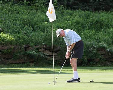 Ralph Gross, 90, putts on hole 3 of the West Course at Krendale Golf Course during Tri-Boro Golf League Thursday. Seb Foltz/Butler Eagle 06/10/21