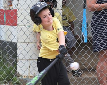 Lincoln Sankey, 7, gets a hit in Center Township Athletic Association 8U play Thursday. Seb Foltz/Butler Eagle 06/10/21