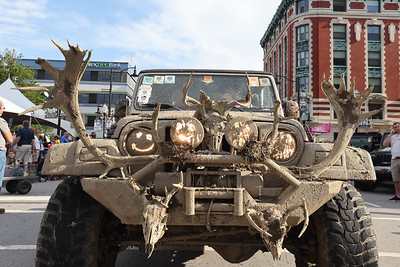 Deer and caribou antlers mounted to a Jeep grill lead the way for one  parade participant in Friday's Jeep Invasion Parade to kick off Jeep Fest. Seb Foltz/Butler Eagle 06/11/21