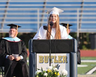 Student council president Sarah Fiorina speaks at Butler High School graduation Friday. Seb Foltz/Butler Eagle 06/04/21