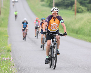 Ric Carpenter rides ahead of teammates to the Morraine State Park North Shore aid station on the first leg of Saturday's Bike MS: Escape to the Lake. Seb Foltz/Butler Eagle 06/12/21
