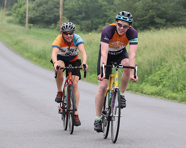 Alex Larrimer (right) and Jeffrey Clark ride to the Morraine State Park North Shore aid station on the first leg of Saturday's Bike MS: Escape to the Lake. Seb Foltz/Butler Eagle 06/12/21