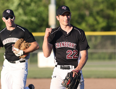 Cranberry relief pitcher Nick Price pumps his fist after pitching his way out of the top of the fifth inning with runners on base. Seb Foltz/Butler Eagle 06/15/21