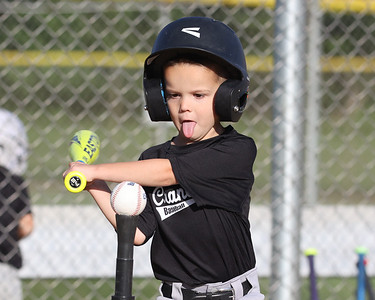 Grayson Burden, 5, brings the Michael Jordan approach to his swing during a Cranberry Township teeball game Tuesday at Graham Park Tuesday evening. Seb Foltz/Butler Eagle 06/15/21