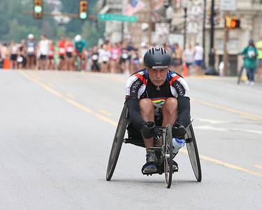 Dave Convery starts off the Butler Road Race with the wheelchair division Saturday. Seb Foltz/Butler 06/19/21