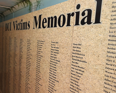 DUI victim wall of names mobile memorial. Seb Foltz/Butler Eagle 06/24/21