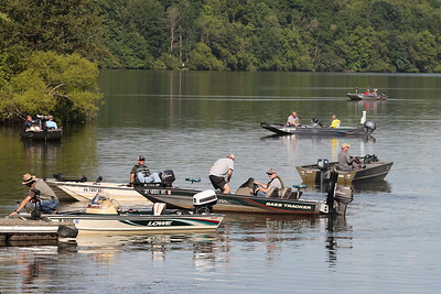 Fishermen get ready to start Butler Bass Caster's weekly Wednesday Night Tournament Wednesday at Lake Arthur's boat lauch off of Route 528. Seb Foltz/Butler Eagle 06/23/21