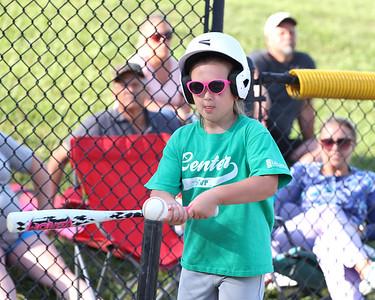 Harper Bachman, 6, takes a swing in a 4-6 Center Township baseball game this week. Seb Foltz/Butler Eagle 06/23/21