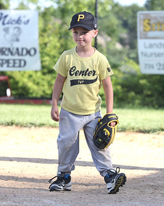 Connor Fend, 5, gets ready for the next play after making an out at first in a 4-6 Center Township baseball game this week. Seb Foltz/Butler Eagle 06/23/21