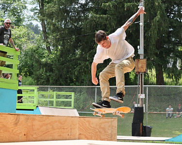 Jeremiah Schmidt, 24, of Butler attempts a trey flip trick during competition at Father Marinaro Skate Park Saturday. Seb Foltz/Butler Eagle 06/26/21