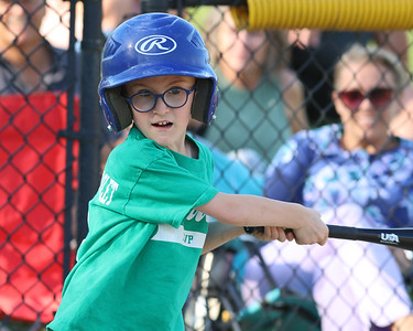 Matthew Miller,6, gets a hit in a 4-6 Center Township baseball game this week. Seb Foltz/Butler Eagle 06/23/21