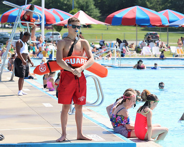Logan Hockenberry, 16, stands watch across from the waterslide at the Cranberry Community Waterpark at North Boundary Park Thursday. Seb Foltz/Butler Eagle 06/24/21