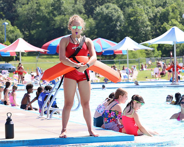 Isabella Kling, 15, stands guard at the waterslide of the Cranberry Community Waterpark at North Boundary Park. Seb Foltz/Butler Eagle 06/24/21