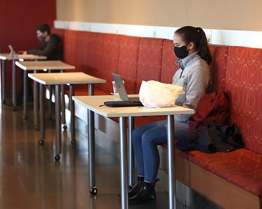 Slippery Rock University sophomore Kathryn Eberhart studies upstairs in the Smith Student Center Saturday. Seb Foltz/Butler Eagle 02/27/21