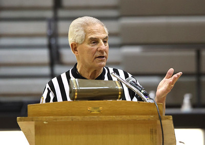 PIAA referee  Art Monteleone was honored at Moniteau High School Saturday for his 50 serving as a basketball and football official. The district threw a surprise ceremony prior to a girls basketball game. Seb Foltz/Butler Eagle 02/20/21