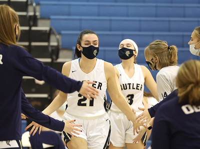 Butler SeniorAlison Altman walks on the court for pre-game introductions in Butler's 48-36 home playoff win Wednesday. Seb Foltz/Butler Eagle 03/03/21
