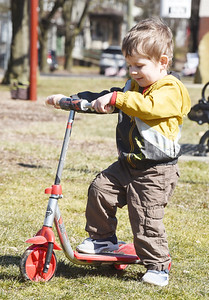 Cai Gould, 2, of Butler spent Wednesday afternoon playing with his mother, Ally Gould and brothers, Luke, 4, and Elias, 9 months playing in Rotary Park.