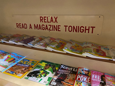 A sign at the magazine rack in the Book Nook, 135 N. Main St. in Butler. Andy Andrews/Butler Eagle