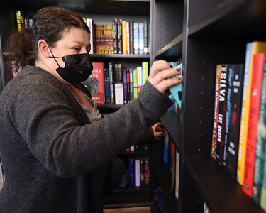 Little Green Bookstore co-owner Lisa Fico looks at a book in her new store on Main Street in Harmony. Seb Foltz/Butler Eagle 02/25/21