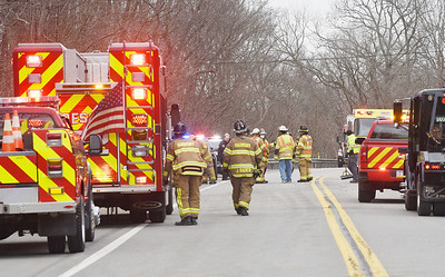 Emergency personnel responded to a two vehicle accident along Evans City Road that sent two people to the hospital Thursday afternoon, March 4, 2021. Harold Aughton/Butler Eagle.