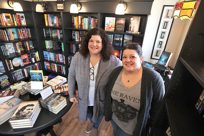 Christine Border (left) and her sister Lisa Fico, owners of the Little Green Bookstore in Harmony. Seb Foltz/Butler Eagle 02/25/21