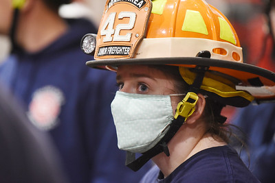 Rachel Getz is one of only a few female volunteers at the Adams Area Fire District, Station 42. Harold Aughton/Butler Eagle