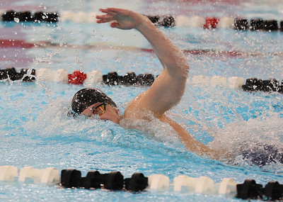 Seneca Valley's Kevin Donaldson competes in the first leg of the 400-meter freestyle relay at WPIAL Championships at Upper St. Clair Sunday. Seb Foltz/Butler Eagle March 2021
